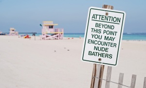 Clothing Optional Beach Sign