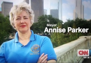 Mayor of Houston who thinks that anyone of any sex should be able to use any bathroom or locker room.