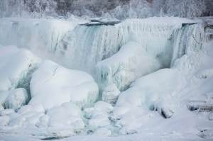 A partially frozen American Falls in sub freezing temperatures is seen in Niagara Falls Ontario