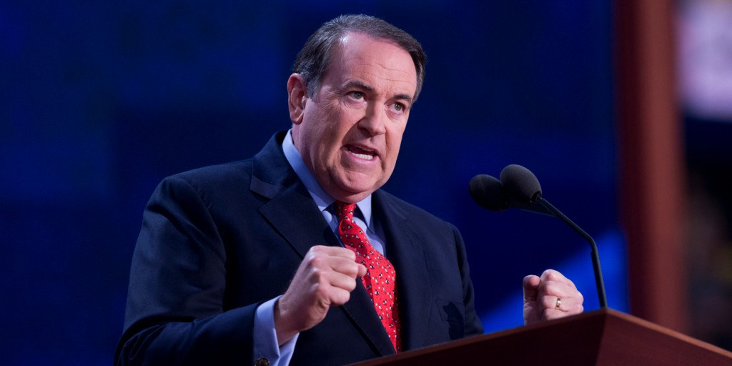 UNITED STATES - AUGUST 29:  Former Gov. Mike Huckabee, R-Ark., addresses the Republican National Convention in the Tampa Bay Times Forum on the night Rep. Paul Ryan, R-Wisc., republican vice-presidential nominee, delivered a speech to the crowd.  (Photo By Tom Williams/CQ Roll Call)